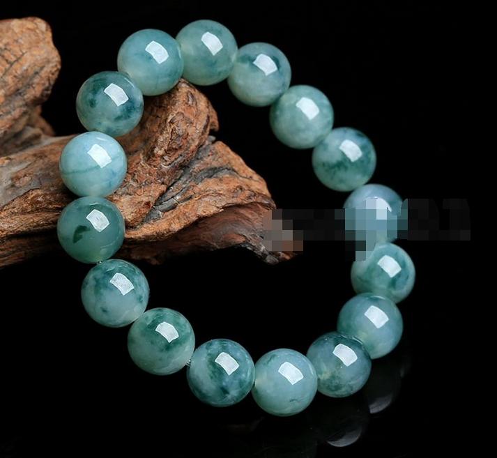 10mm 100% Natural A Grade Green Jade Jadeite Round Gemstone Beads Bracelet 7.5''