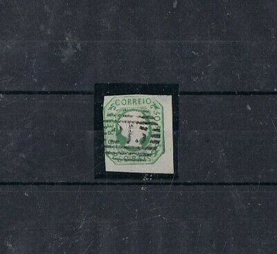 PORTUGAL - 1855-56 50 rs verde amarelo, D. PEDRO V. 213 - LAGOS (4.3.4)