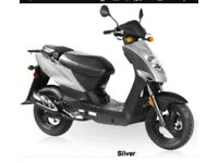 Kymco Agility silver 49cc scooter 2014