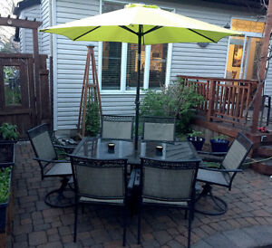 SIX PIECE PATIO SET-6 chairs, 2 are SWIVEL