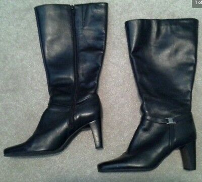 NATURALIZER WOMEN'S LEATHER BOOTS SIZE 7.5  LEATHER KNEE HIGH BLACK HIGH HEEL