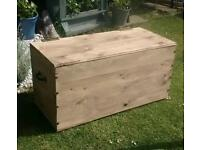 Hand made rustic chic solid wood blanket toy box chest trunk