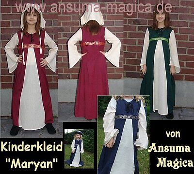 Mädchen Mittelalter Kostüm (KINDER MITTELALTERKLEID Mädchen Kostüm Kleid Kinderkleid BAUMWOLLE 3 Größen)