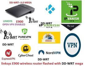 DD-WRT- Linksys-E900-WIRELESS VPN ROUTER .FLASHED WITH DD-WRT MEGA BUILD