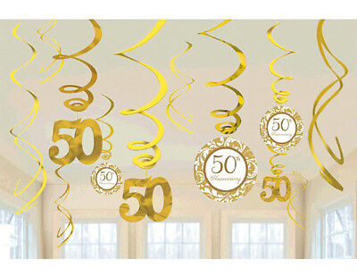 50th Wedding Anniversary Hanging Swirl Decorations ~ Golden Party Supplies 12ct