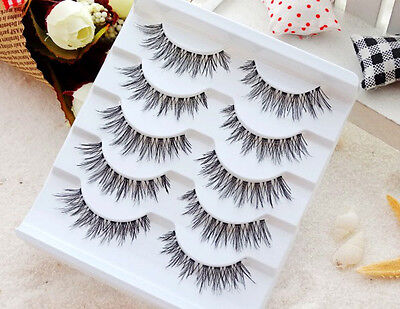100% Real Human Hair Natural False Fake Eyelashes Eye Lashes Makeup Extension US