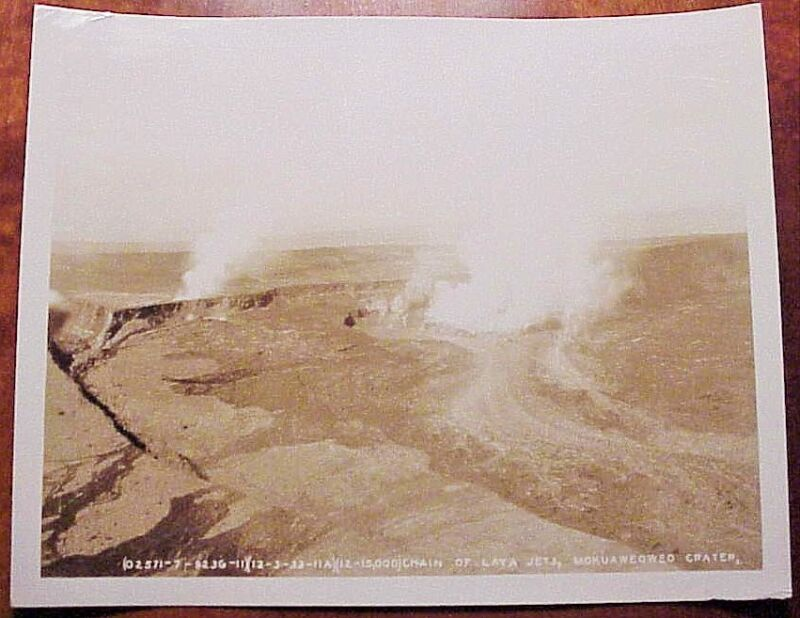 1933 Aerial Chain Lava Jets Mokuaweoweo Crater TH Hawaii