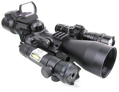 3-9X40 R&G Mil-Dot Optics Sniper Scope /QD Green Laser /501B Torch/223 R&G