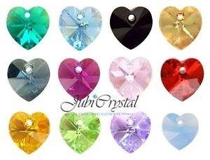 2-PC-SWAROVSKI-ELEMENTS-6228-HEART-10mm-Pendant-Crystal-All-Colours-Effect