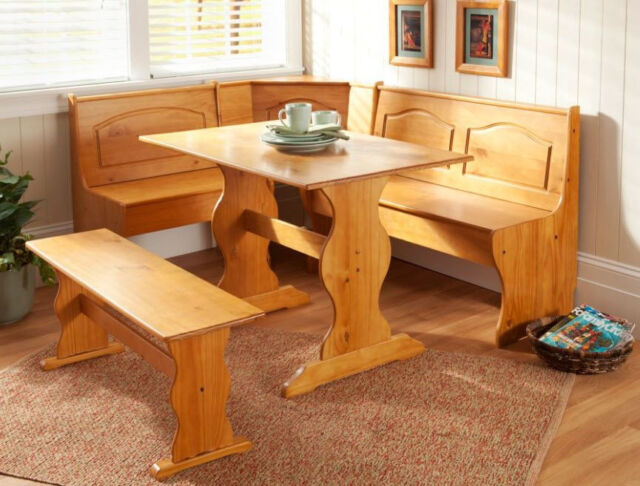Solid Wood Kitchen Sets Part - 42: New Kitchen Nook Corner Dining Breakfast Set Table Bench Chair Booth