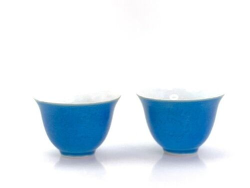 Pair Chinese Porcelain Blue Tea Bowls Chenghua Ming Dynasty Mark Dragon Design