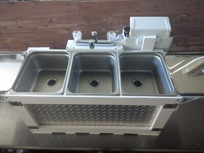 L.a. Qualified Hot Water Portable 3 Compartment Concession Sink Table Top