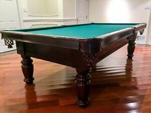 9' DUFFERIN SLATE POOL TABLE INSTALLED WITH ACCESSORIES