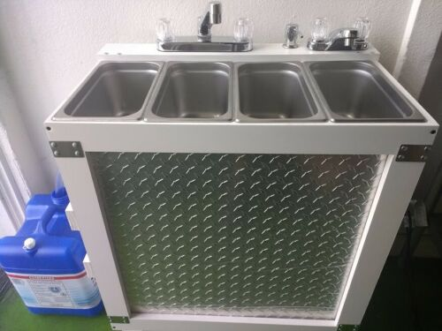 Portable Concession Sink, 3 Compartment Sink + Hand Sink, Electric Hot Water