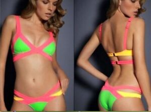 Neon bandage bathing suit