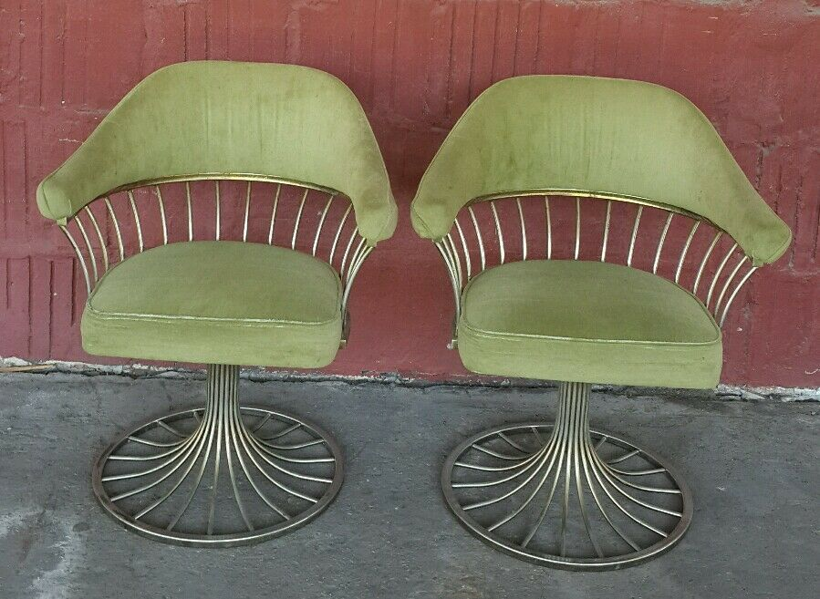 Vintage MCM Saarinen Platner Era Modern Dining Accent Chrome Swivel Chair PR