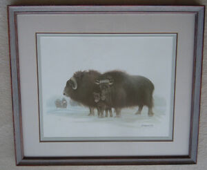 James Lumbers MUSK OXEN Rare 1975 Signed Framed Print