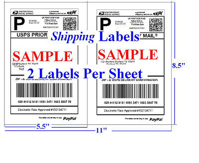 1000 Shipping Labels Self Adhesive 2 Per Sheet 8 5 X 11  Usps Ups Paypal Fedex