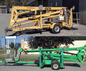 JLG T500J & Biljax 4527A towable boom lifts