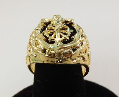 SIZE 13 MENS 14KT GOLD EP RELIGOUS ANCHOR MARINER CRUCIFIX CROSS RING  14kt Gold Crucifix Ring