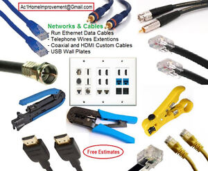 Network Patch Cables Cat6, Cat5e - Coaxial - Any Length . Custom
