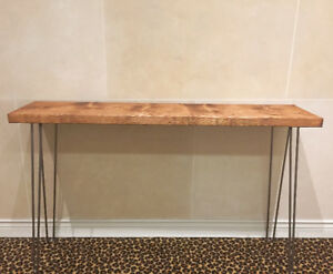 Modern Rustic Industrial Console Table | Pine Top | Hairpin Legs