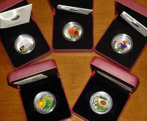 Lot of 5 Canada Venetian Glass Silver Coins - 2011 Tulip Ladybug