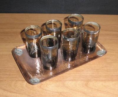 Nordisch Design Schnapsgläser Glas Kupfer Silber VICHY 50er sixties Glas Tablett
