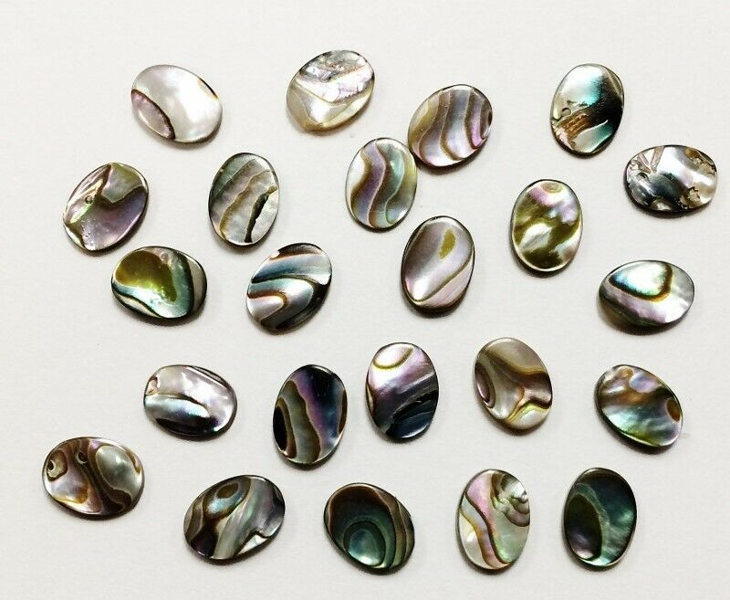 12 VINTAGE GENUINE ABALONE MOTHER OF PEARL PAUA SHELL 8x6mm. OVAL CABOCHONS 1253