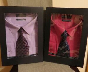 Brand New Boxed Santino Platinum Shirt & Tie Sets. sz 18-18 1/2