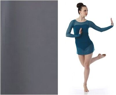 Adult L Gray color Contemporary Ballet Dance Dress Costume Sheer Long Sleeved