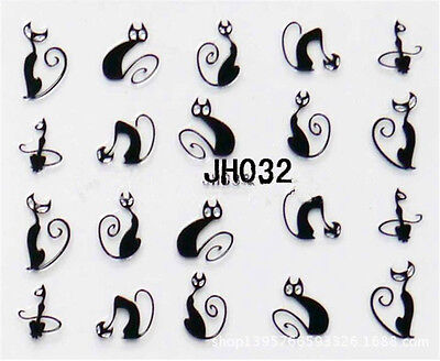 Cute Black Cat Halloween Nail Art Water Transfer Slide Decals Sticker Tips Multi