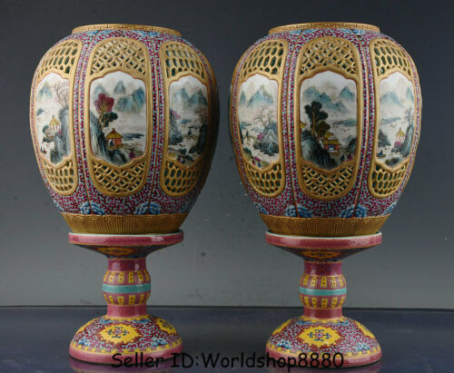 """14.8"""" Marked Old China Qing colour enamels Porcelain lamp-chimney lampshade Pair"""