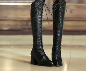 Leather boots/Martin boots/heels/lace-up/cowhide/midland black