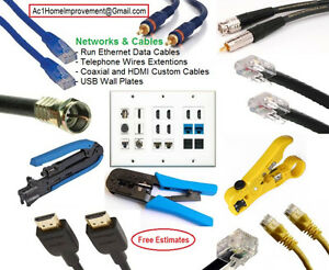 Network Patch Cables Cat6, Cat5e - Coaxial - Any Length. Custom