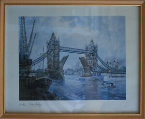 London Tower Bridge Print, Made in England, framed glass
