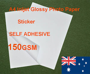 30 sheets A4 150GSM Inkjet Glossy Photo Paper Sticker Adhesive