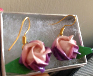 Brandnew Origami lilac with pink handmade earrings