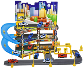 3 story gas station toy garage set ( includes 4 cars)