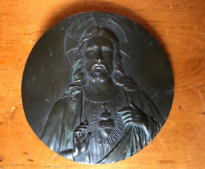 ANTIQUE RELIGIOUS EMBOSSED BRASS PLAQUE of JESUS, Signed RUFFONY