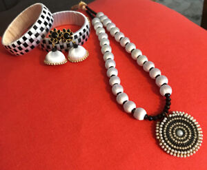 Silk Thread Jewellery black and white
