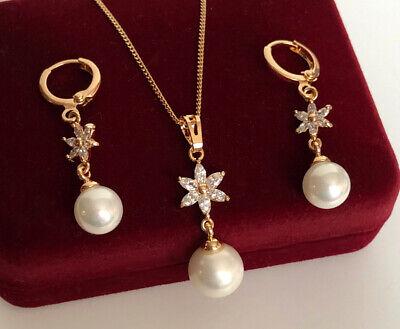 Perlas Juego Joyas Collar Pendientes con Swarovski Cristales 18K Oro Y Estuche