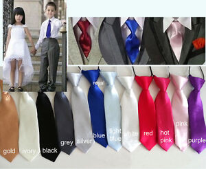 Kid's Boy's Satin Pre-tied Neck Ties Solid Colours - New