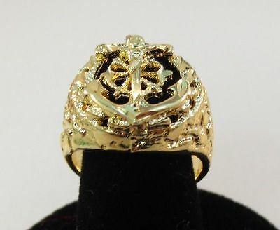 SIZE 10 MENS 14KT GOLD EP RELIGOUS ANCHOR MARINER CRUCIFIX CROSS RING  14kt Gold Crucifix Ring