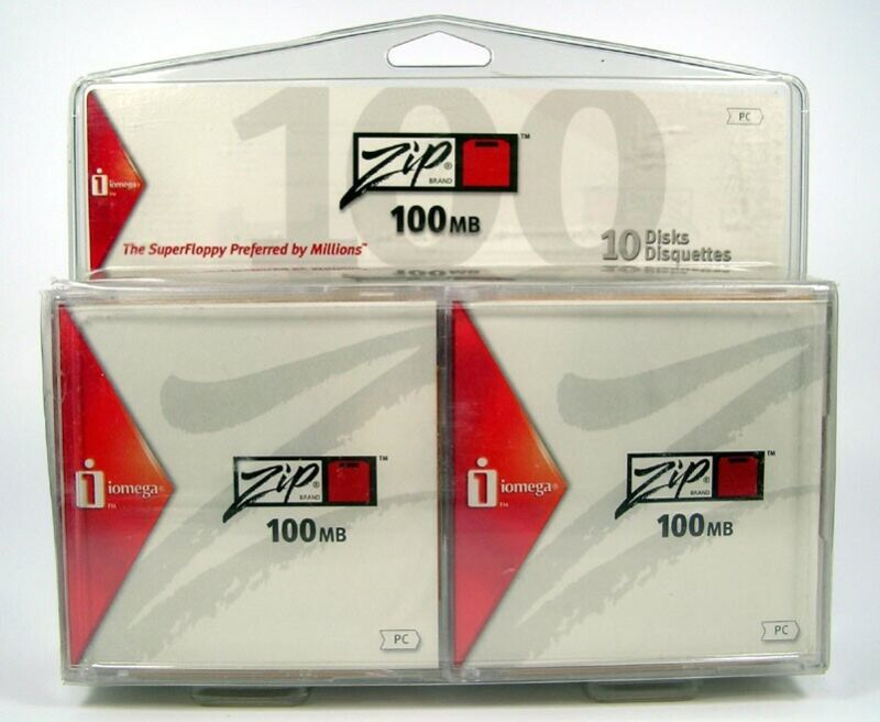 10 Pack of Iomega Zip Disks 100 MB Formatted for PCFactory Sealed NOS