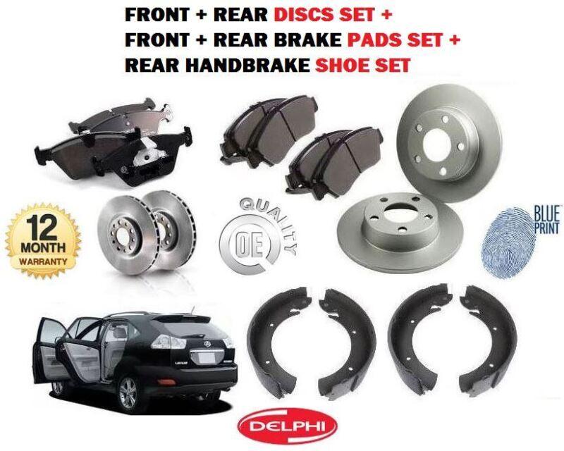 FOR LEXUS RX300 RX400H RX350 2003--> FRONT + REAR BRAKE DISCS SET + PADS + SHOES