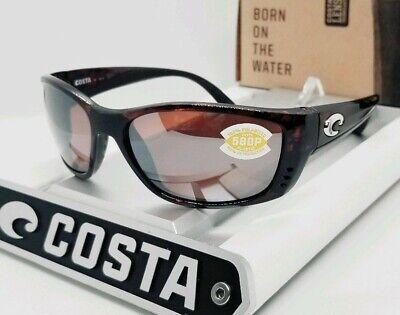 COSTA DEL MAR tortoise/silver mirror FISCH POLARIZED 580P sunglasses NEW IN (Costa Fisch Sunglasses)
