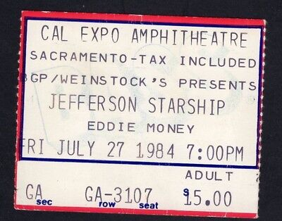 1984 Jefferson Starship Eddie Money Concert Ticket Stub Cal Expo Scaramento CA