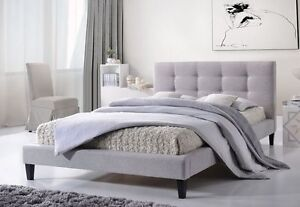 Modern Design Fabric Bed Frame 603 Double/Queen Grey Springvale Greater Dandenong Preview