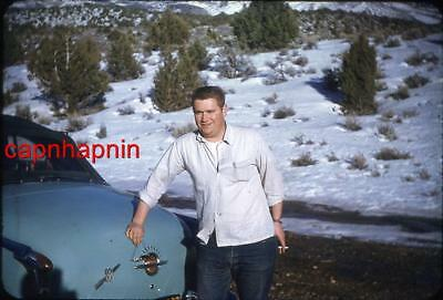 Cigarette Greaser Guy & His Oldsmobile Olds 88 Car Vintage 1950s Slide Photo - Greaser Guy